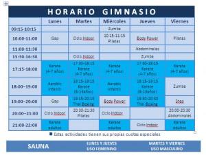 horario gimnasio