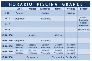 Horario piscina grande gimnasios Torrent